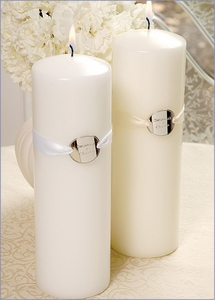 Ribbon Charm Unity Candle - White