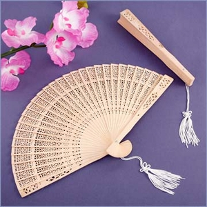 Sandalwood Cut Out Fan Wedding Favor