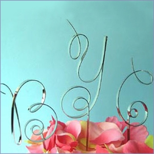 Scroll Initial Wedding Cake Topper