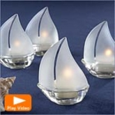 Glass Sailboat Tealight Holders