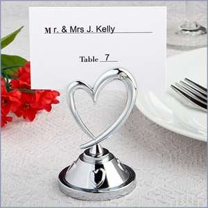 Silver Heart Place Card Holder - Set of 24