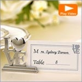 Silver LOVE Place Card Holders & Cards Set