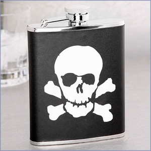 Skull & Bones Leather Flask