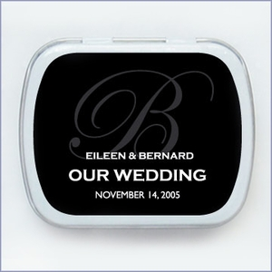 Solid Monogram Wedding Mint Tin Favors