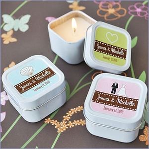 Square Personalized Candle Tins Wedding Favors