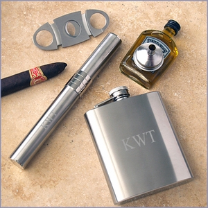 Stainless Steel Flask and Cigar Gift Set