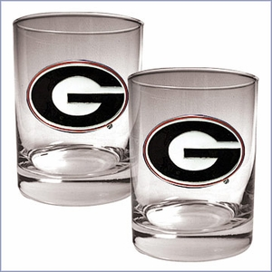 Team NCAA Logo 2pc Rocks Glass Set