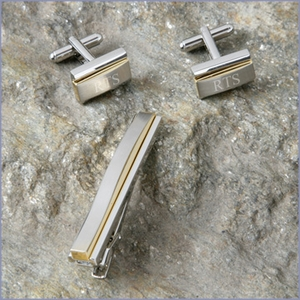 Two-tone Cufflink and Tie Clip Set