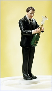 Victorious Groom with Champagne Bottle Wedding Cake Topper
