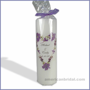 Violet Bouquet Unity Candle - Pillar Candle Only