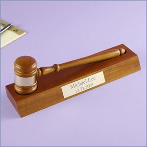 Walnut Gavel with Personalized Stand