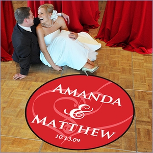 Wedding Dance Floor Decal - Standard (39) Embracing Hearts