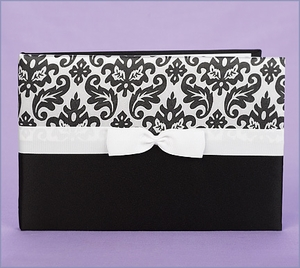 Wedding Guest Book Damask Black