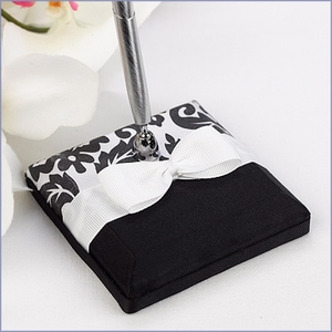 Wedding Guest Book Pen Set Damask Black