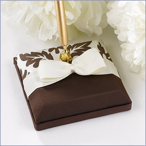 Wedding Guest Book Pen Set Damask Brown