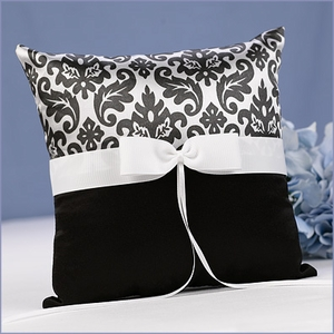 Wedding Ring Bearer Pillow Damask Black