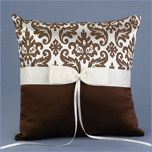 Wedding Ring Pillow Damask Brown