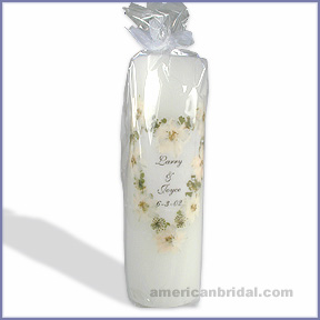 White Linen Unity Candle - Pillar Candle Only