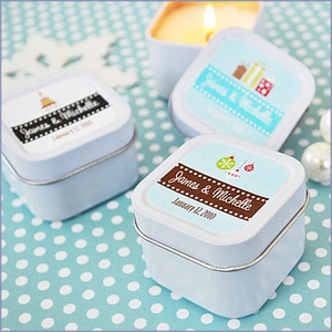 Winter Holiday Personalized Candle Tins Wedding Favors