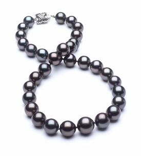10.1mm x 12.6mm TRUE AAA Dark Black Tahitian Pearl slight Rose Overtone Necklace