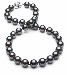 10 x 11.3mm True AAA Dark Peacock Tahitian Pearl Necklace