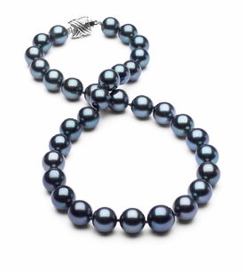 10 x 11.5mm True AAA Dark Black Tahitian Pearl Blue Overtone Necklace