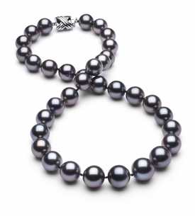 10 x 12.3mm True AAA Dark Grey Rose Tahitian Pearl Necklace