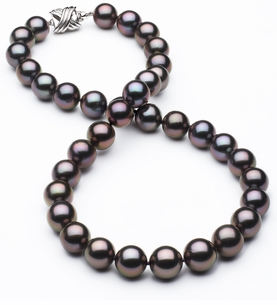 10mm x 10.9mm TRUE AAA Tahitian Pearl Aubergine Overtone Necklace