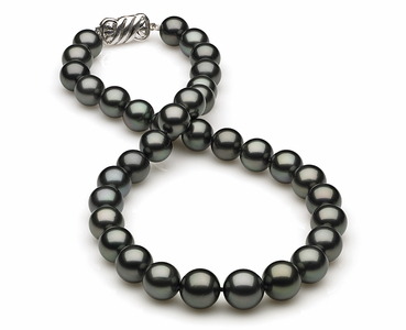 10 x 11.9mm Dark Black Green Tahitian Pearl Necklace