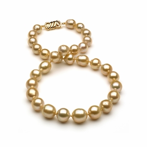 10 x 12.8mm Golden Pearl Necklace Baroque