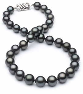 10mm x 11.33mm TRUE AAA Black Tahitian Pearl Necklace