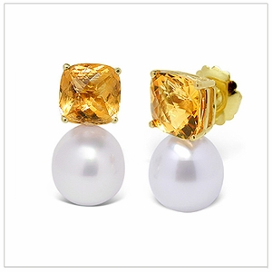 11 x 12mm White South Sea Pearl Drop and Gemstone Earring