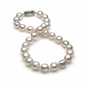 11x13mm White South Sea Semi Baroque Pearl Necklace