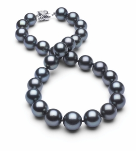 12 x 14.3mm True AAA Dark Blue Tahitian Pearl Necklace