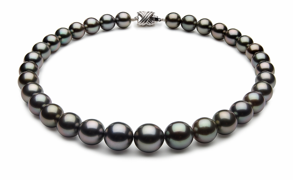12 x 14.5mm Black Tahitian Pearl Necklace Black Green Color