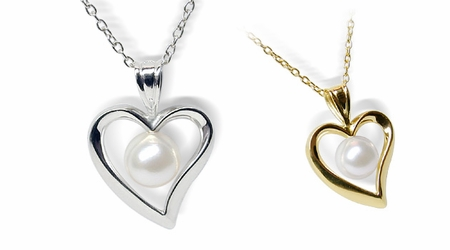 14K White Gold Heart Pearl Pendant