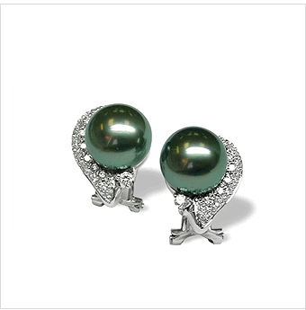 18K White Gold Black Tahitian Pearl and Diamond Earring