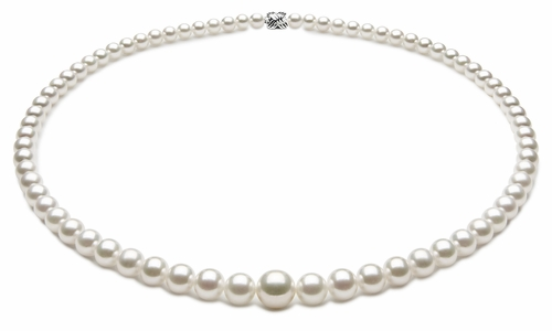 TRUE AAA Quality 3.5 x 7.5mm Natural White Akoya Cultured Pearl Necklace
