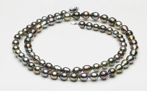 "32"" 8 x 10mm Tahitian Pearl Necklace Multicolor Baroque 