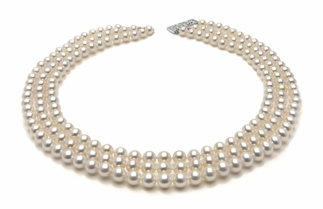 6.5 x 7mm White Freshwater Triple Strand Pearl Necklace