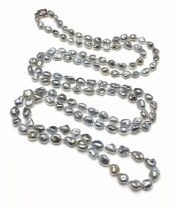 48.5 Inch Rope 7.2mm x 9.4mm Tahitian Pearl Keshi South Sea Cultured Pearl Necklace