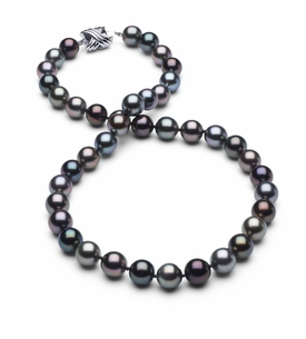 8.3 x 8.9mm True AAA Black Tahitian Multicolor Pearl Necklace