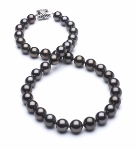 8.3 x 9.9mm True AAA Black Tahitian Pearl Slight Rose Overtone Necklace