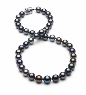 8.5 x 9.3mm True AAA Black Tahitian Multicolor Pearl Necklace