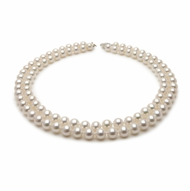 8.5 x 9.0mm Double Strand White Freshwater Pearl Necklace