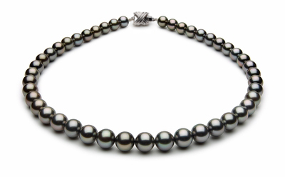 8.6 x 9.9mm Black Tahitian Pearl Necklace Blue Color