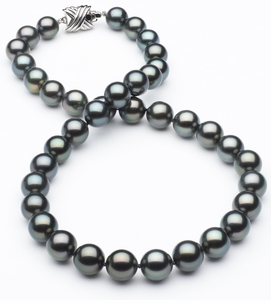 8.6mm x 9.9mm TRUE AAA Dark Black Tahitian Pearl Blue/Green Overtone Necklace