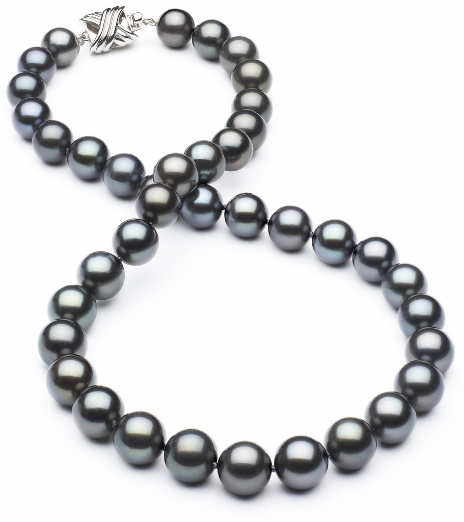 8.6mm x 9.9mm TRUE AAA Black Tahitian Pearl Blue/Green Overtone Necklace