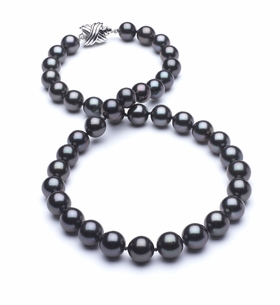 8 x 9.8mm True AAA Dark Black Tahitian Pearl Necklace