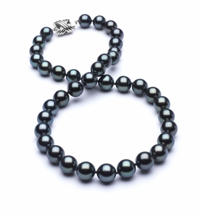 8.9 x 9mm TRUE AAA Dark Black Tahitian Pearl Blue Overtone Necklace